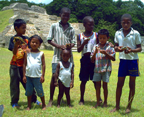 Children at Altun Ha